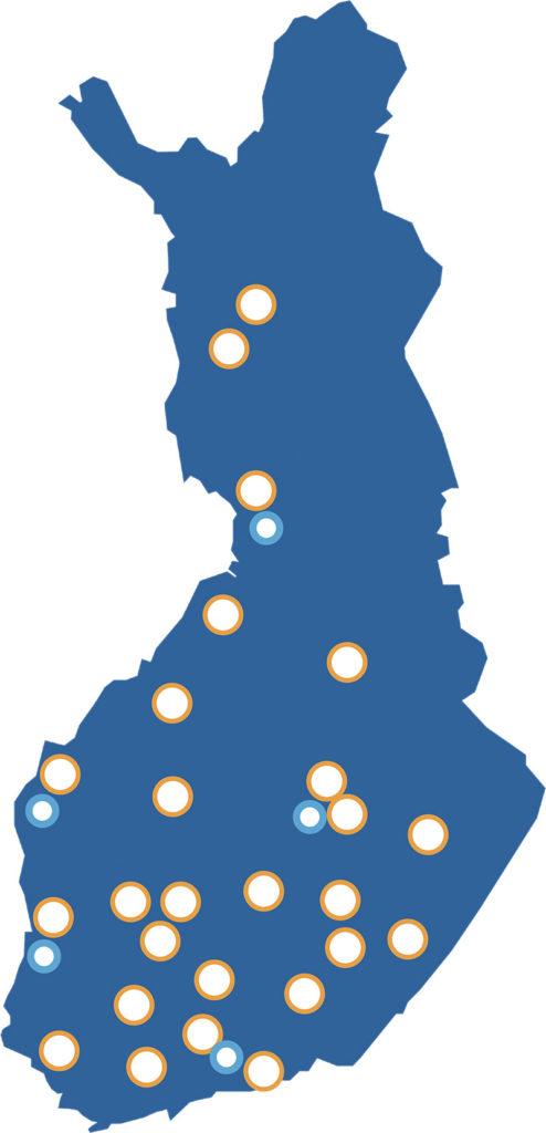 SPALin jäsenyhdistykset kartalla
