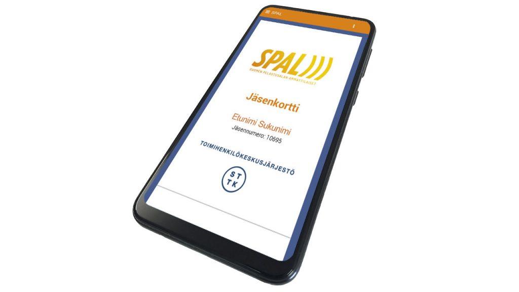 Puhelin, jossa on avoimena SPALin jäsenmobiili.