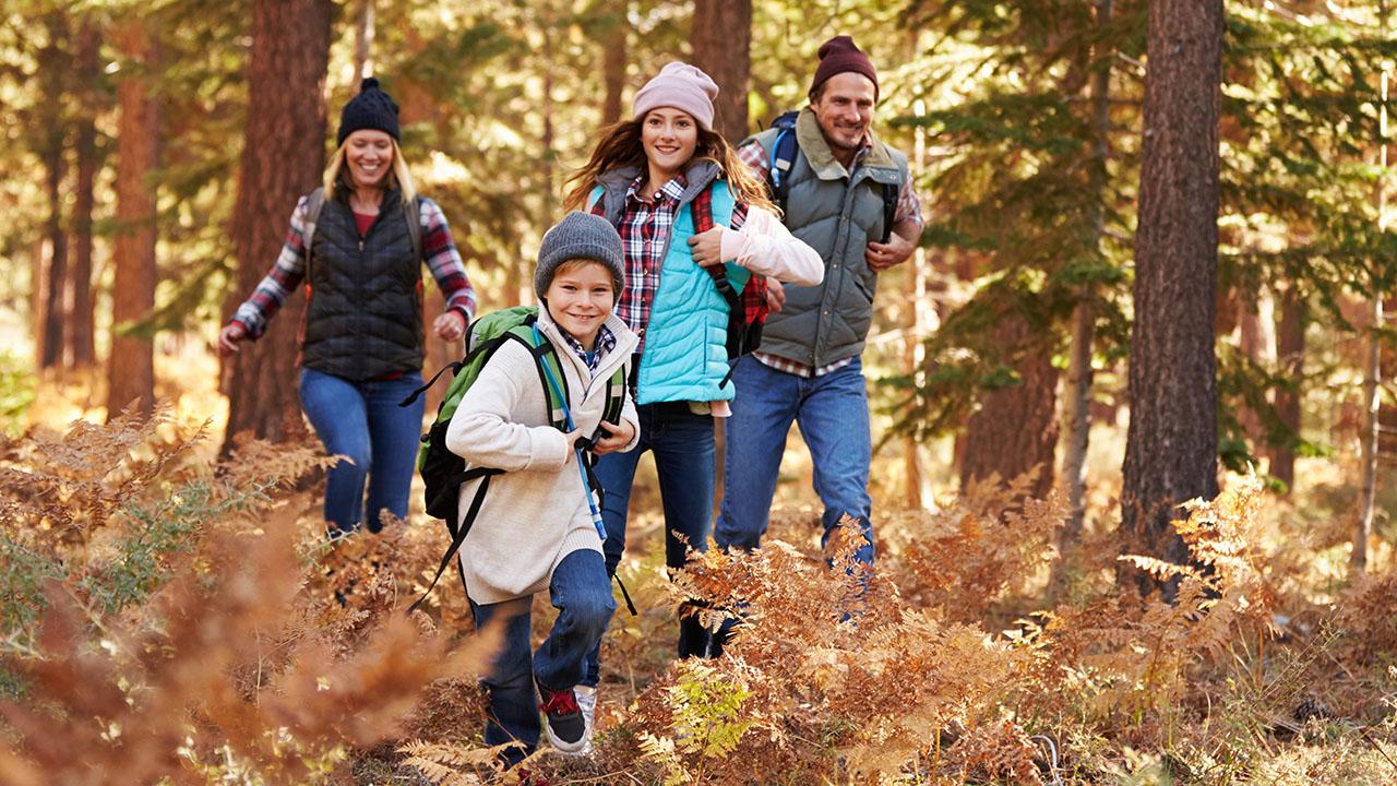 Perhe (isä, äiti ja kaksi lasta) vaeltaa metsässä.